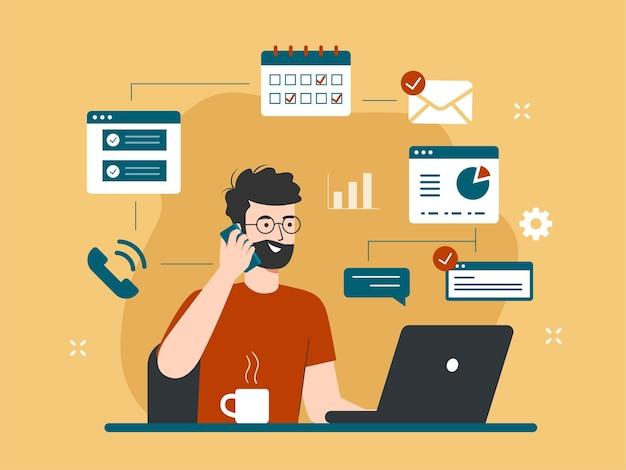 노트북 일러스트레이션 작업을 하는 바쁜 남자와 멀티태스킹 및 생산성 개념