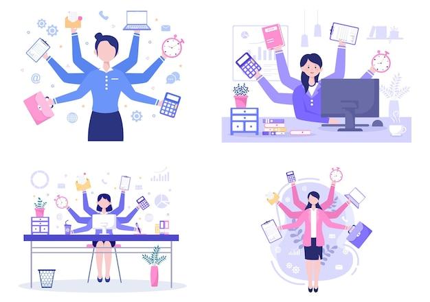 マルチタスクビジネスの女性または男性のイラスト
