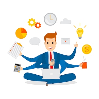 Multitasking businessman. effective and successful office worker. happy talented man busy doing many things at once. isolated