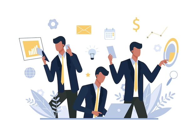 Многозадачный бизнесмен, офисный работник плоской иллюстрации