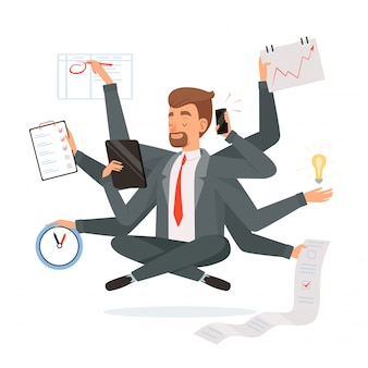 Multitasking businessman. office worker making much work with hands writing calling reading yoga meditation  concept character