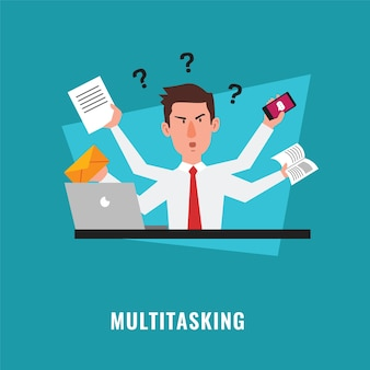 Multitasking businessman with many hands