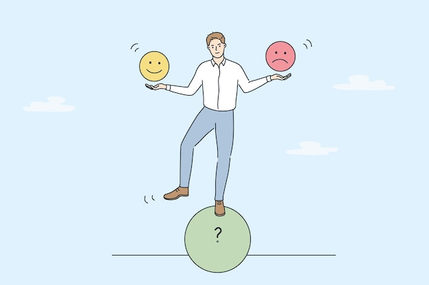 Multitasking and cheering business concept. young smiling businessman standing on roll circle shape balancing holding positive and negative emoji in hands vector illustration
