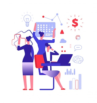Multitasking concept. businesswoman solving urgent tasks. project management, achievement and work skill vector illustration