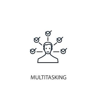 マルチタスクコンセプトラインアイコン。シンプルな要素のイラスト。マルチタスクコンセプト概要シンボルデザイン。 webおよびモバイルui / uxに使用できます