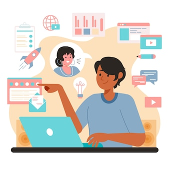 Uomo multitasking di concetto che lavora al computer portatile