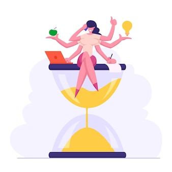Multitasking efficient business success concept flat illustration