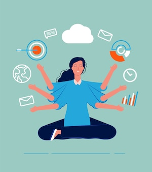 Multitasking female. business woman leader manager yoga sitting with many goals and deals perfect skill work processes  concept. business leader multitasking, work female illustration
