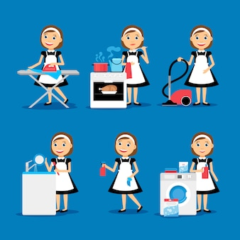 Multitasking housewife vector illustration