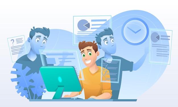 Multitasking man, business man in cartoon style