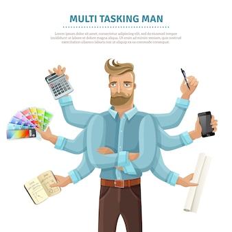 Multitasking man flat poster