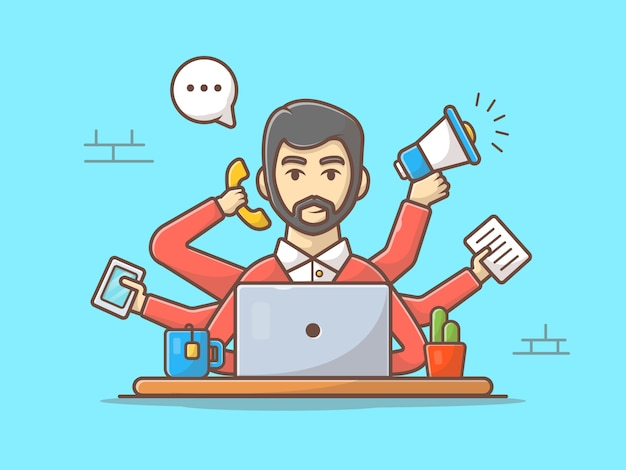 Multitasking man vector icon illustration