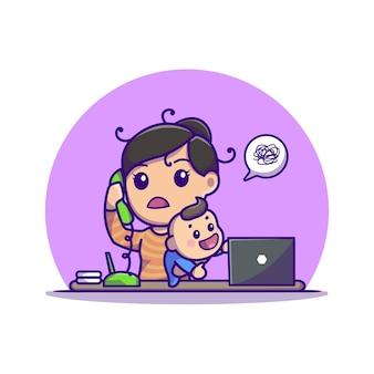 アクティブな赤ちゃんの漫画のアイコンイラストとマルチタスクの母。人々のビジネスアイコンの概念が分離されました。フラット漫画スタイル