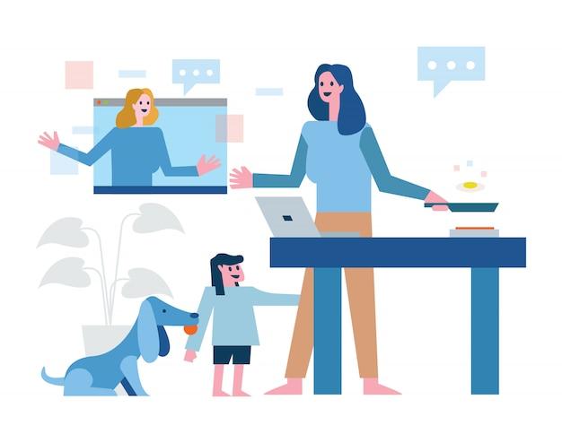 マルチタスクの母は自宅で仕事をしています。オンラインでの作業、料理、世話をする子供とペット。家の検疫のコンセプトデザイン。図