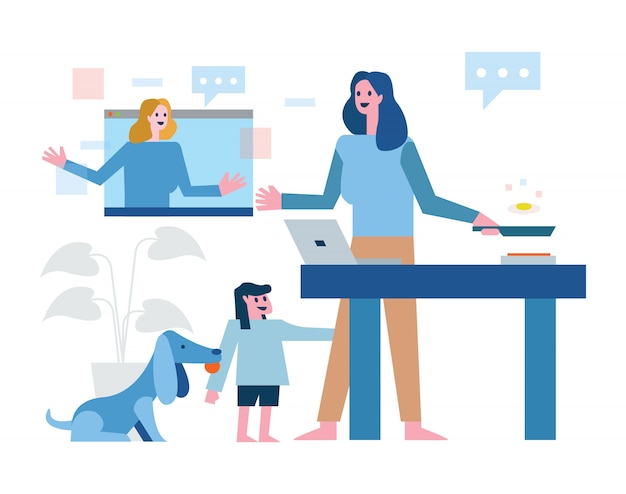 Multitasking mother work at home. working online, cooking and take care kid and pet. home quarantine concept design. illustration