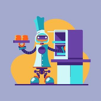 Multitasking robot chef baking and cooking illustration