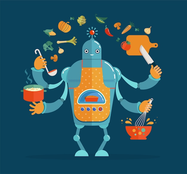 Multitasking robot chef working, cooking and baking