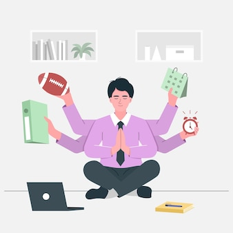Multitasking and time management concept