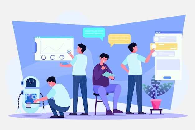 Multitasking and time management illustration concept