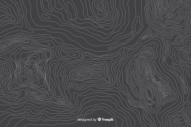 Multitude of topographic lines on grey background