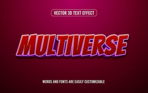 다중 우주 빨간색 만화 스타일 3d 편집 가능한 텍스트 효과 스타일