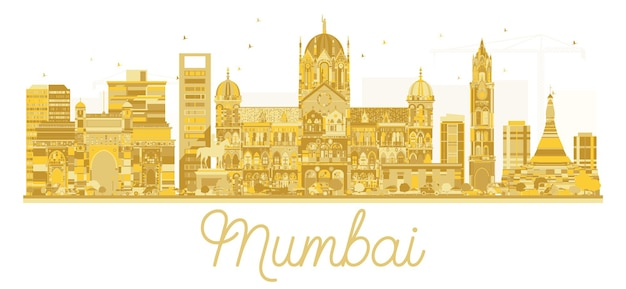Mumbai india city skyline golden silhouette. vector illustration. business travel concept. mumbai cityscape with landmarks.