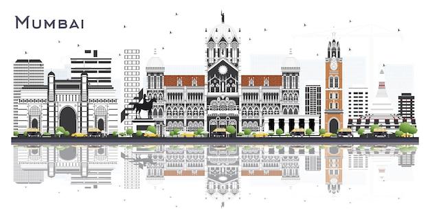 Горизонты города мумбаи индия с цветными зданиями и размышлениями, изолированными на белом. векторные иллюстрации. деловые поездки и концепция туризма с исторической архитектурой. городской пейзаж мумбаи с достопримечательностями.