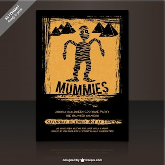Mummies party flyer template for halloween