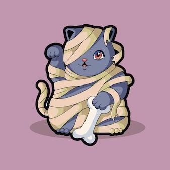 Mummy cat cute funny character halloween costume
