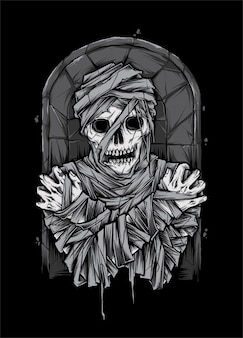 Мумия труп зомби иллюстрация