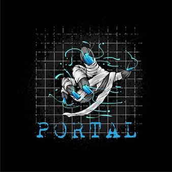 Рука мумии появляется с портала иллюстрация к дизайну футболки
