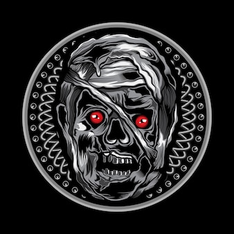 Mummy head vector illustration art on circle ornament