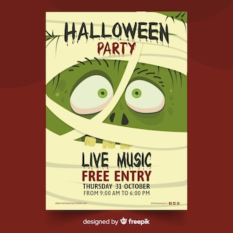 Mummy monster halloween party poster
