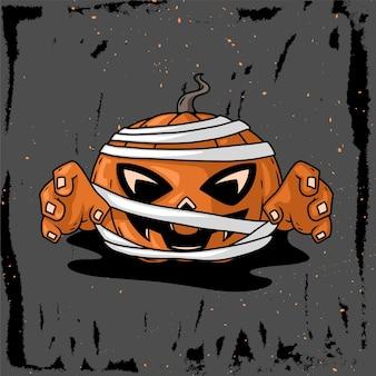 ハロウィン用ミイラかぼちゃキャラクター手描きイラスト