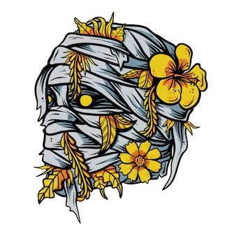 Mummy with hand drawn flower in head vector illustration