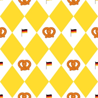 Munich beer festival flags and pretzels seamless pattern