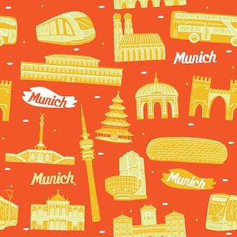 랜드마크 요소와 뮌헨 시 원활한 패턴