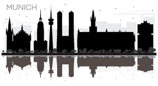 Munich germany city skyline black and white silhouette with reflections. business travel concept. munich cityscape with landmarks.
