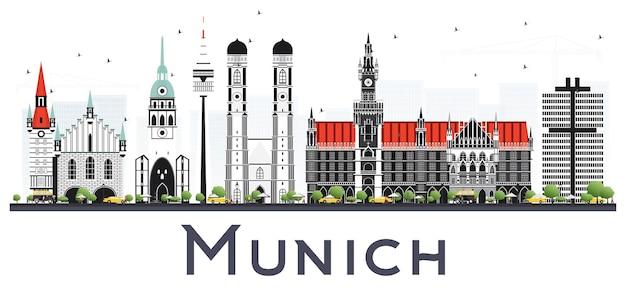 Горизонты города германии мюнхен с зданиями цвета, изолированные на белом. векторные иллюстрации. деловые поездки и концепция туризма с исторической архитектурой. городской пейзаж мюнхена с достопримечательностями.