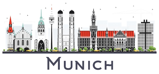 Munich germany city skyline with color buildings isolated on white. vector illustration. business travel and tourism concept with historic architecture. munich cityscape with landmarks.