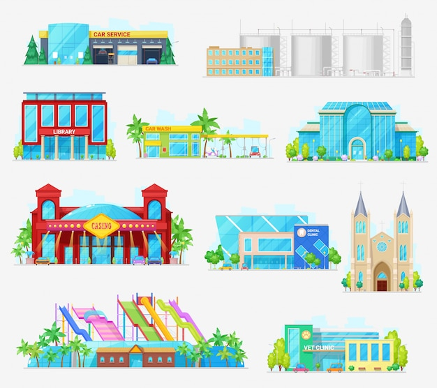 Municipal city buildings, industrial architecture Premium Vector