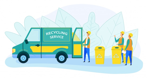 Municipal recycling service workers loading litter