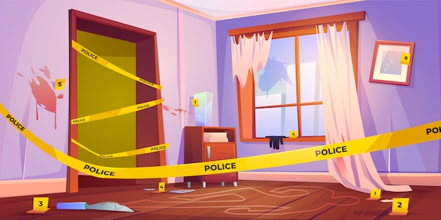 Murder place fenced with yellow police tape illustration