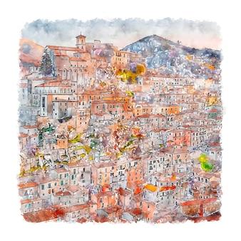 Муро лукано италия акварельный эскиз рисованной иллюстрации