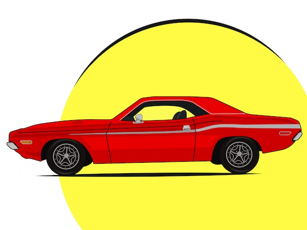 Muscle car bright illustration icon old