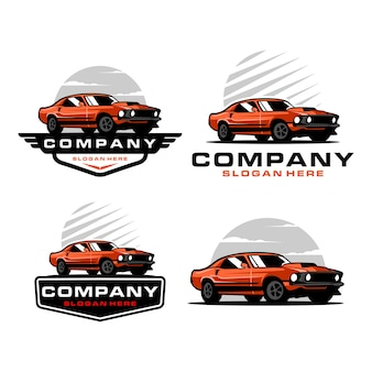 Muscle car logo set