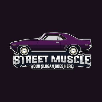 Muscle car logo vector template