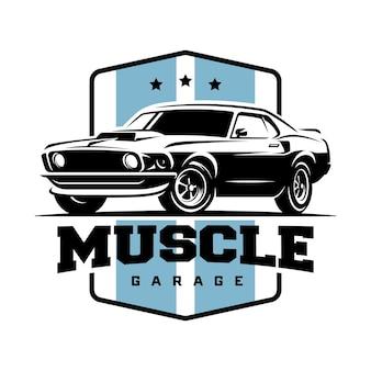 근육 자동차 복고풍 로고, 배너, 상징입니다.