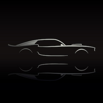 Muscle car silhouette on black background with reflection