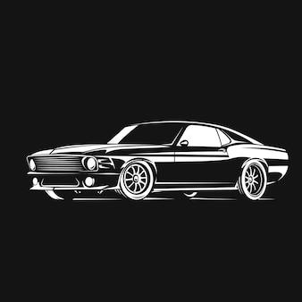 黒の背景のポスターで白のマッスルカー